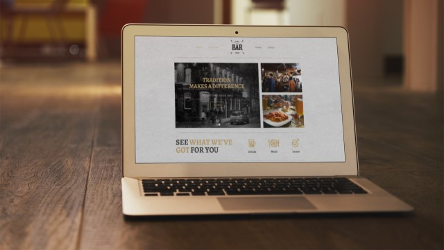 A website for a Leeds bar viewed on a laptop