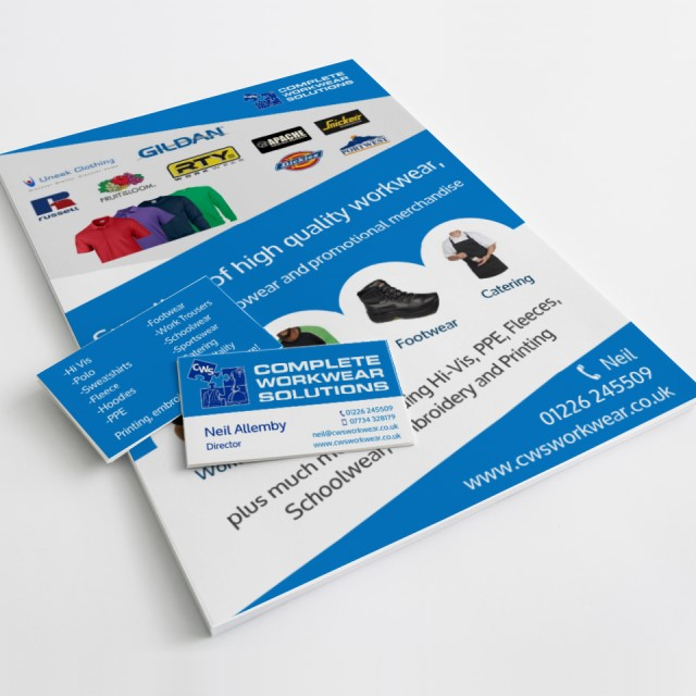 Business cards and flyers for Complete Workwear Solutions