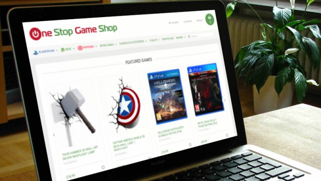 Ecommerce website for The One Stop Game Shop, Sheffield as viewed on a laptop
