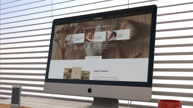 A website for a Leeds spa and beauty salon viewed on a large desktop screen